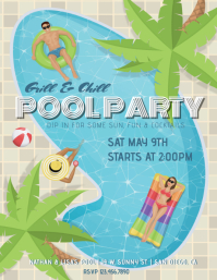 Pool Party Grill and Chill Flyer Pamflet (Letter AS) template
