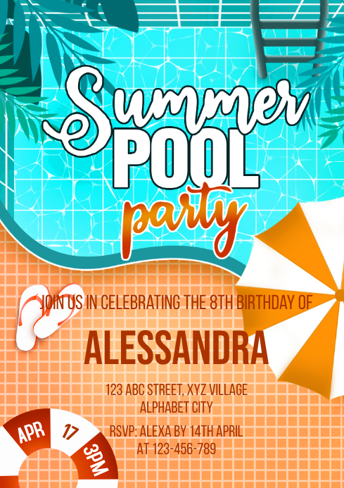 Pool Party Invitation A4 template