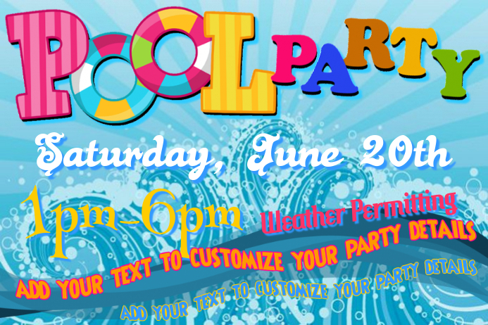 pool party invite poster template postermywall