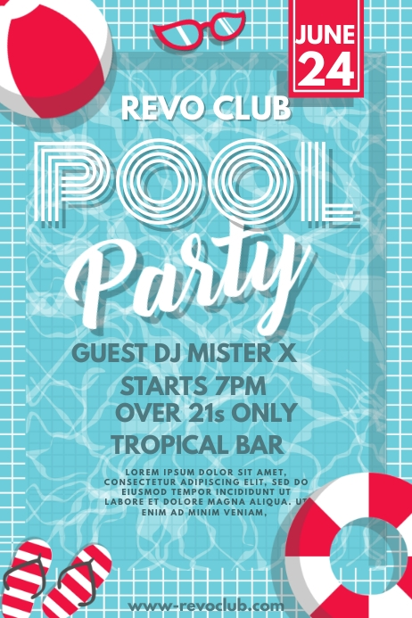 Pool Party Poster Flyer Template