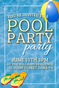 Pool Party Summer Festival Pinterest Image Template