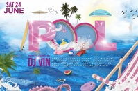 pool party poster video template
