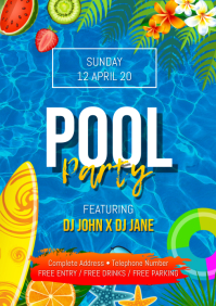 Pool Party Premium Flyer A4 template