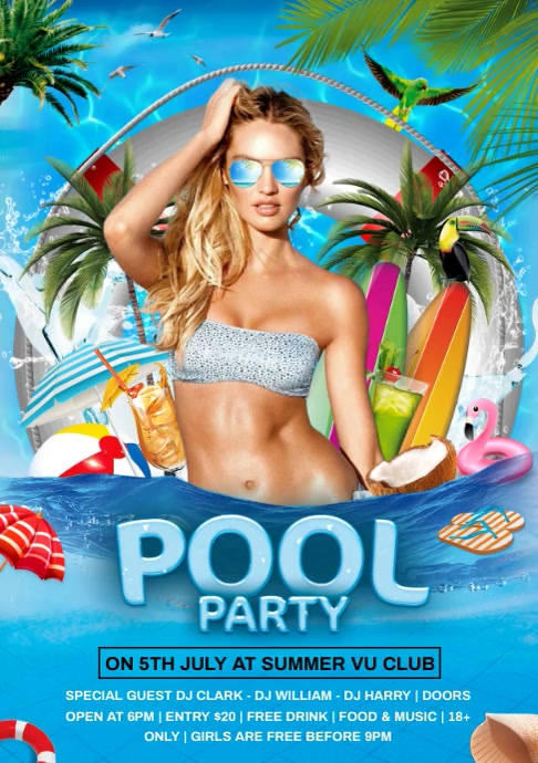 pool party video A4 template
