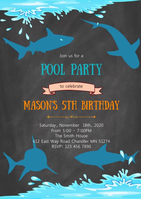 Pool Shark birthday party invitation