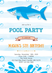 Pool Shark birthday party invitation A6 template