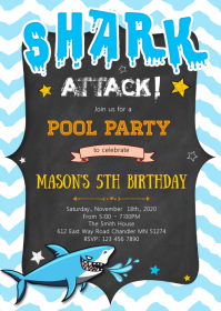 Pool Shark birthday party invitation