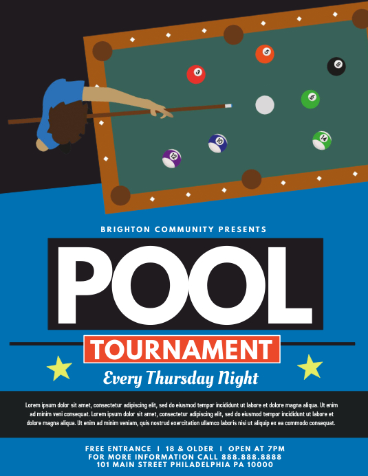 Pool Tournament Folder (US Letter) template