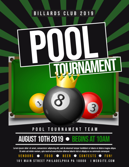 Pool tournament Folheto (US Letter) template