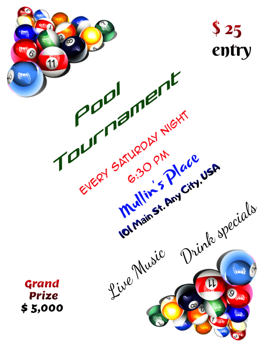 Pool Tournament Flyer Template Postermywall