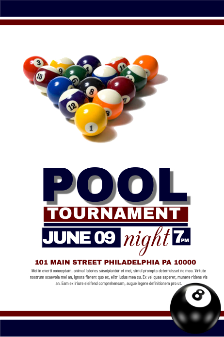 Pool Tournament Template Postermywall