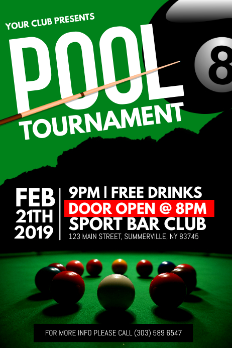 Pool Tournament Poster