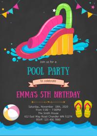 Pool waterslide birthday card