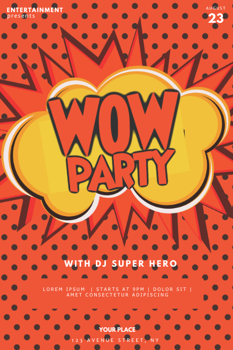 pop art comics Super hero party flyer Cartaz template