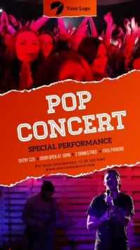 Pop Concert Digital signage multiple video Digitalanzeige (9:16) template