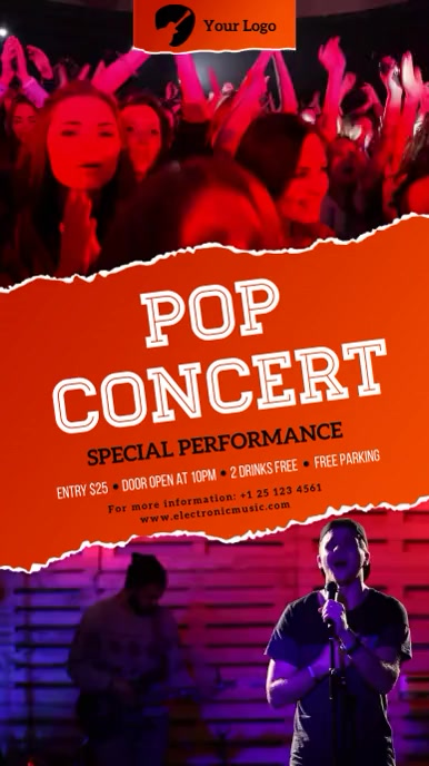 Pop Concert Digital signage multiple video งานแสดงผลงานแบบดิจิทัล (9:16) template