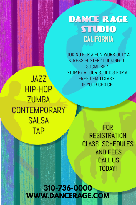 pop dance studio flyer template postermywall