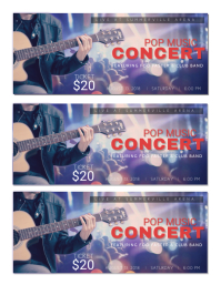Pop Music Concert Tickets Template