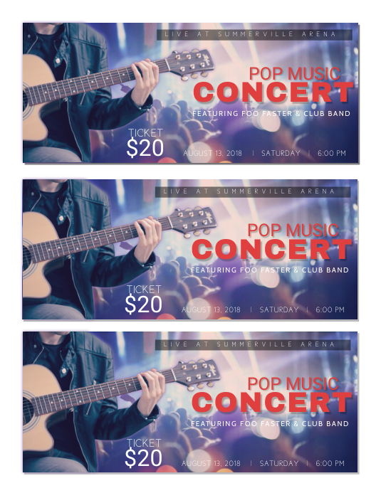 pop music concert tickets template postermywall