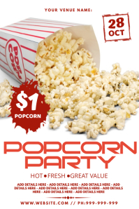 Popcorn Party Poster template