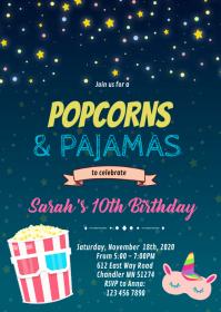 Popcorns and pajama birthday card