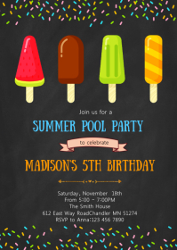 Popsicle birthday invitation A6 template