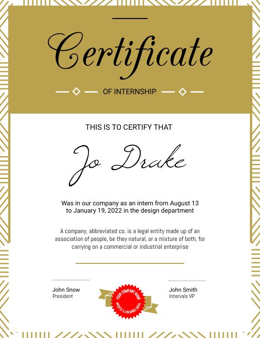 foto de Portrait Internship Certificate Template PosterMyWall