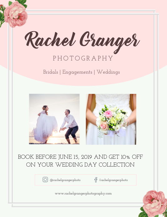 Portrait Wedding Photography Flyer template