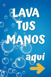 Poster motivador LAVA TUS MANOS AQUÍ