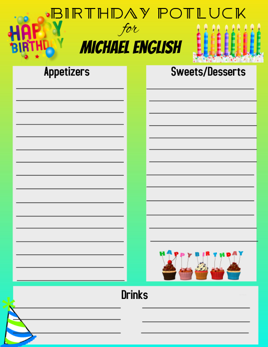 Potluck Folder (US Letter) template