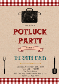 Potluck party theme invitation A6 template