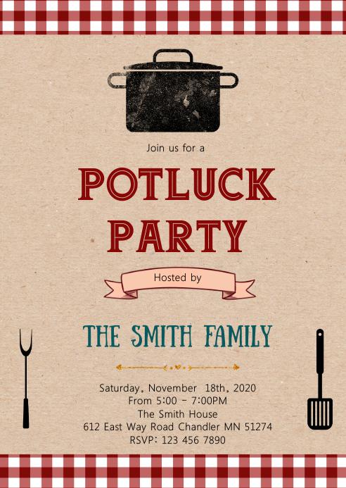 Potluck party theme invitation