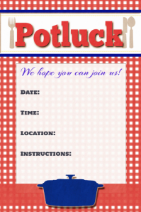 Potluck Flyer Potluck Poster Invitation Announcement Sign