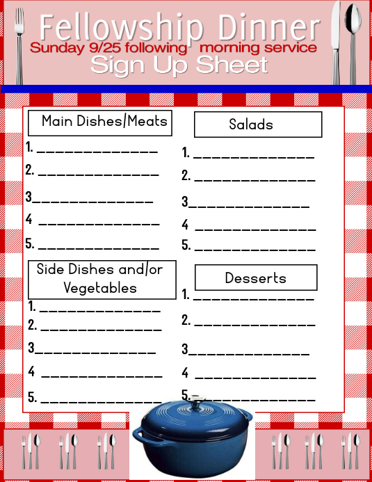 Potluck Sign- up Pamflet (Letter AS) template