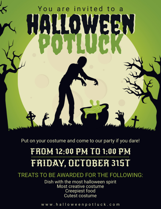 Potluck Zombie Party Poster Design