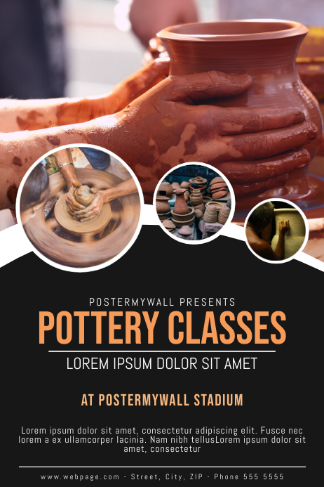 pottery classes Flyer design template