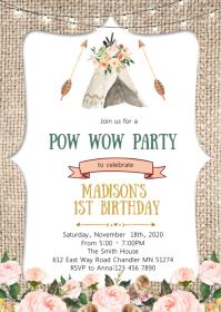 Pow wow birthday invitation