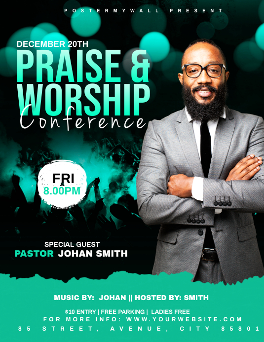 Praise & Worship Conference template Рекламная листовка (US Letter)