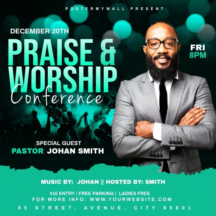 Praise & Worship Conference template Сообщение Instagram