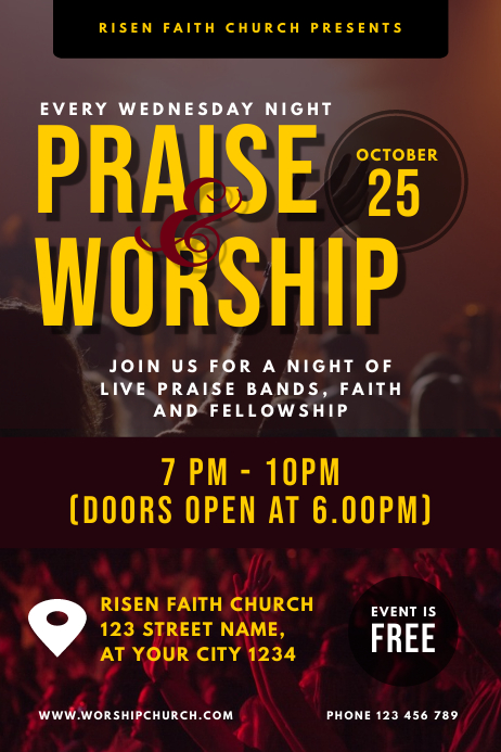 Praise And Worship Church Flyer Póster template