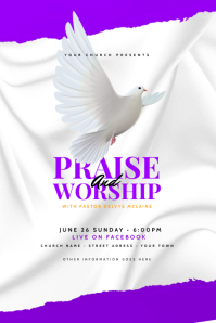 Praise and Worship - Church Flyer Template Cartel de 4 × 6 pulg.