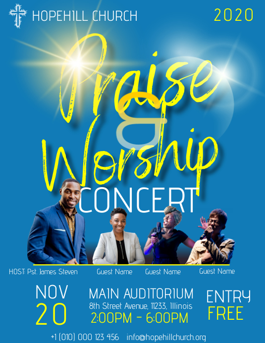 Praise and Worship Concert Flyer Folder (US Letter) template
