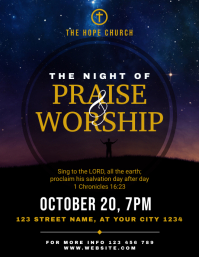 Praise and Worship Night Church Flyer