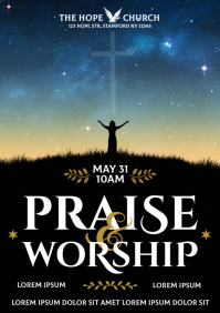 PRAISE AND WORSHIP POSTER A4 template