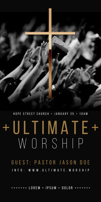 PRAISE AND WORSHIP ROLL UP BANNER ป้ายโรลอัป 3' × 6' template