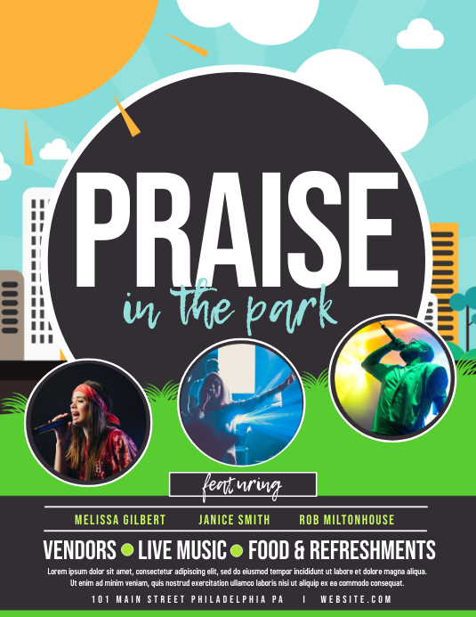 Praise in the park Pamflet (Letter AS) template