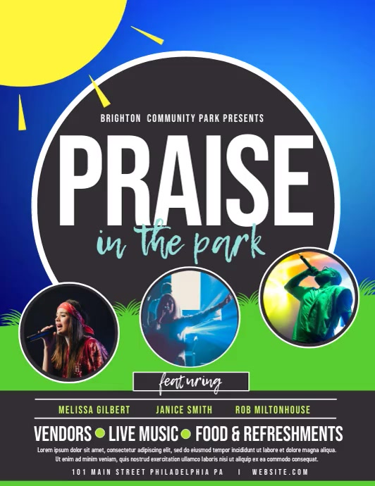 Praise in the park ใบปลิว (US Letter) template