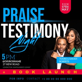 Praise Testimony church event flyer template Square (1:1)
