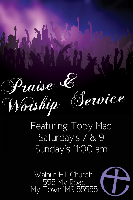 Praise Worship Church service music concert event flyer