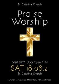 Praise Worship Invitation Church Event Gold